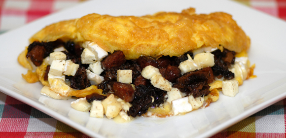 Morel, Sausage and Coulommiers Omelet