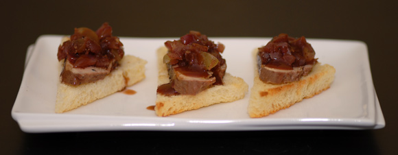 Poached Foie Gras with Grape Relish